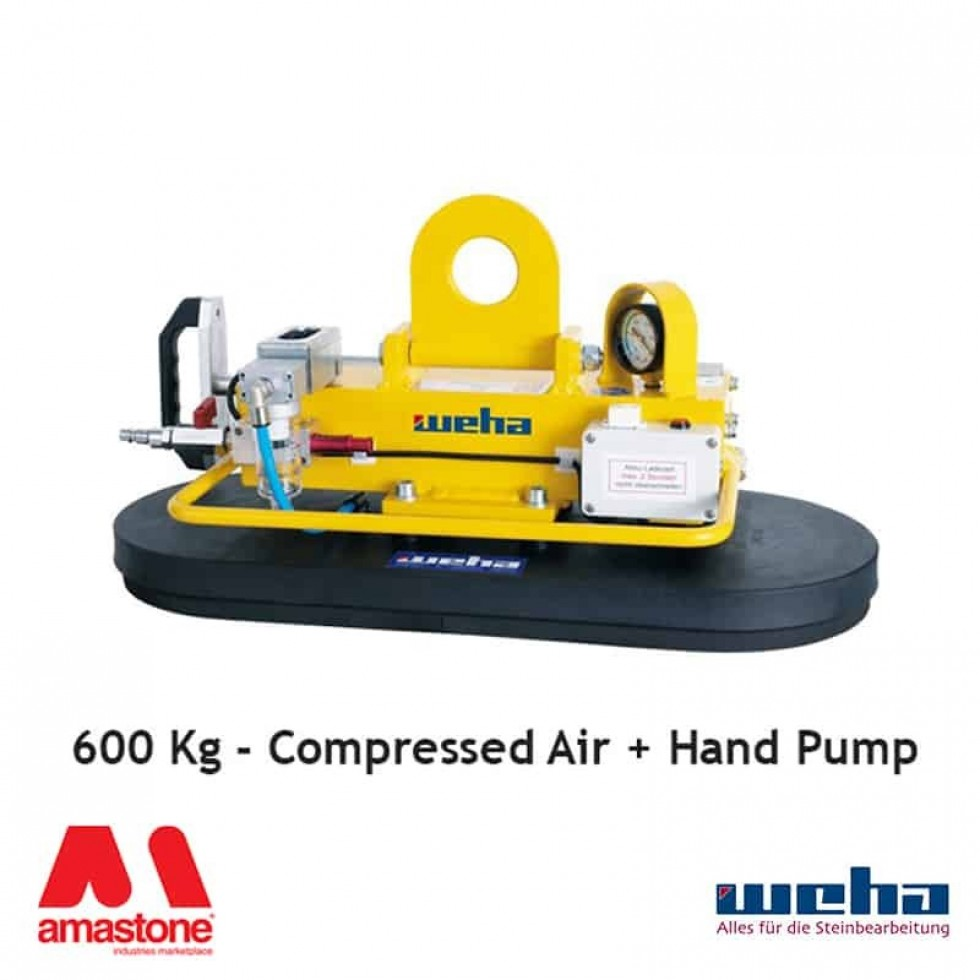 Vacuum lifter with Compressed Air and Hand Pump – 600 Kg